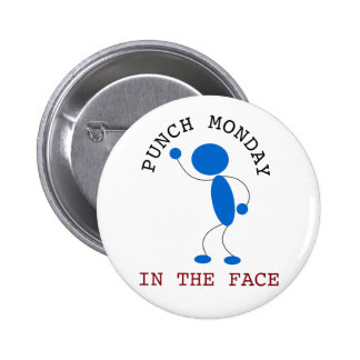 Blue Stick Man Punch Monday In The Face Pinback Button