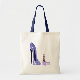 Blue Stiletto Shoe and Lipstick Canvas Bags