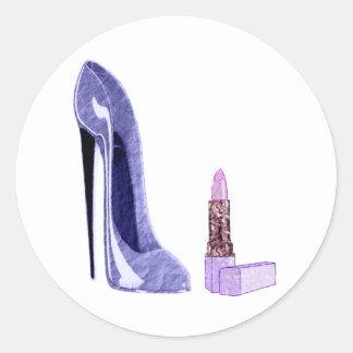 Blue Stiletto Shoe and Lipstick Round Sticker