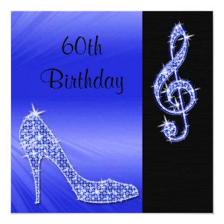 Blue Stiletto & Treble Cleft 60th Birthday 13 Cm X 13 Cm Square Invitation Card