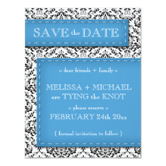 Blue Stitched Damask Save the Date Announcements
