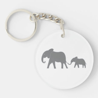 Blue Stitched Mama and Baby Elephant Key Chain