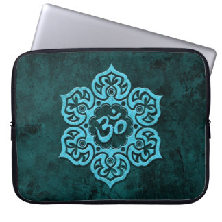 Blue Stone Floral Om Laptop Sleeve