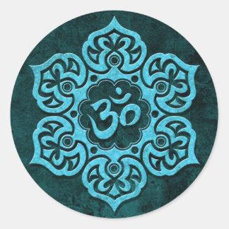 Blue Stone Floral Om Round Sticker