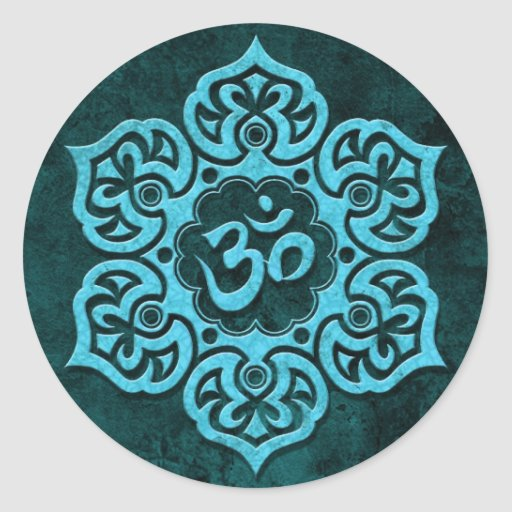 Blue Stone Floral Om Sticker