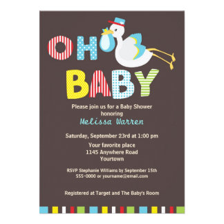 Blue Stork Baby Shower Announcements