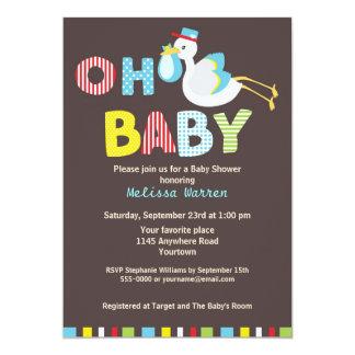 Blue Stork Baby Shower 13 Cm X 18 Cm Invitation Card