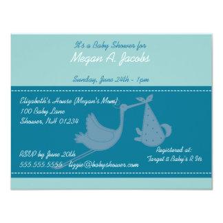 Blue Stork Baby Shower Invitation Cards