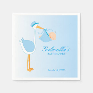 Blue Stork Baby Shower Personalized Napkin Paper Napkin