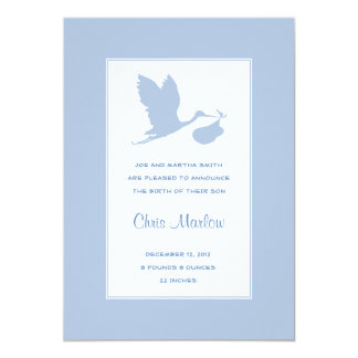 Blue Stork Birth Announcement