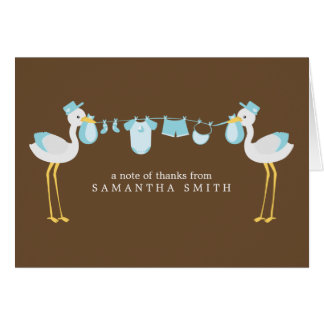 Blue Stork Boy Baby Shower Thank You Notes