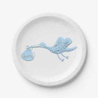 Blue Stork Delivering Boy 7 Inch Paper Plate