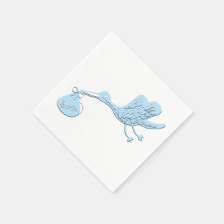 Blue Stork Delivering Boy Disposable Napkin