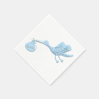 Blue Stork Delivering Boy Paper Napkin
