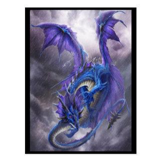 Blue Storm Dragon Postcard
