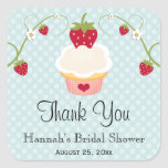 Blue Strawberry Cupcake Favour Labels Stickers