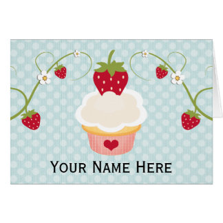 Blue Strawberry Cupcake Thank You Cards Notes