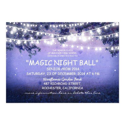 blue string of lights rustic Prom night Invitation