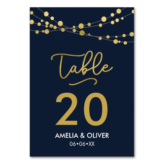 Blue Strings of Lights Editable Table Number