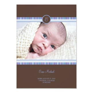 "Blue Stripe Baby Announcement 5"" X 7"" Invitation Card"