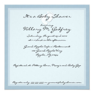 Blue Stripe Baby Shower Invitations