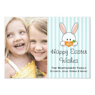 Blue Stripe Easter Bunny Photo Card Custom Invitations