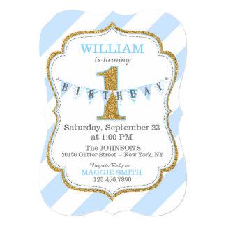Blue Stripe Gold Glitter First Birthday 13 Cm X 18 Cm Invitation Card