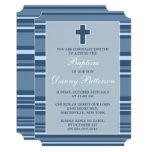 Blue Stripe Modern Cross First Holy Communion 13 Cm X 18 Cm Invitation Card