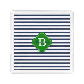 Blue Stripe Monogram Acrylic Tray