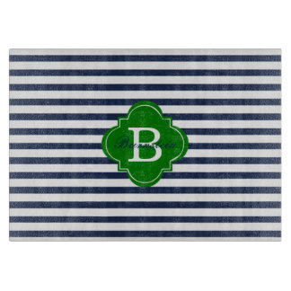 Blue Stripe Monogram Glass Cutting Board
