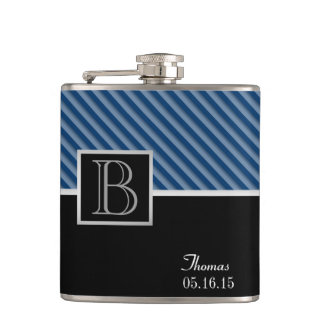 Blue Stripe Monogram with changeable color Hip Flask