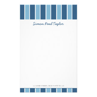 Blue Stripe Personal Stationery
