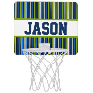 Blue Stripe Personalized Mini-Basketball Goal Mini Basketball Hoop