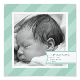 Blue Stripe Photo Birth Announcement