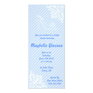 Blue Stripe Shoe Bridal Shower 10 Cm X 24 Cm Invitation Card