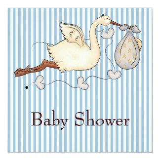 Blue Stripe Stork Baby Boy Shower 13 Cm X 13 Cm Square Invitation Card