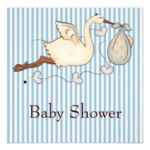 Blue Stripe Stork Baby Boy Shower Invite