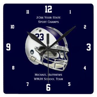 Blue Stripe White Football Helmet Name Clock