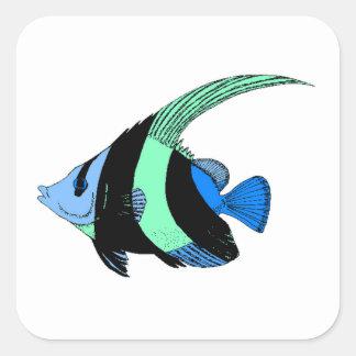 Blue Striped Angel Fish Square Sticker