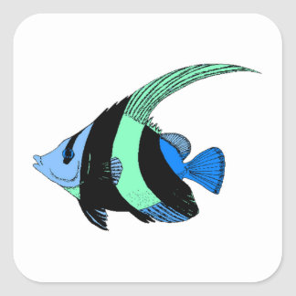 Blue Striped Angel Fish Stickers