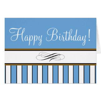 """Blue Striped """"Birthday Card"""" Card"""