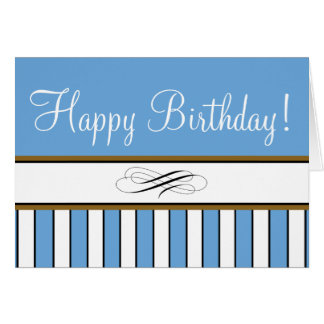 "Blue Striped ""Birthday Card"" Greeting Card"