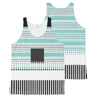Blue-Striped--Black-Summer-Fun-Women-Tank-Top All-Over Print Singlet