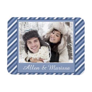 Blue Striped Custom Photo Flex Rectangular Photo Magnet