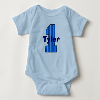 Blue Striped First Birthday Boy Shirt