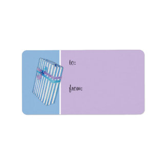 Blue Striped Gift blue Gift Tag Address Label