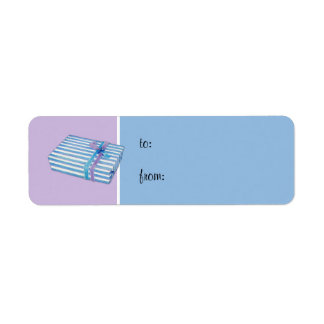 Blue Striped Gift lilac Small Gift Tag Return Address Label