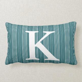 Blue Striped Initial Monogram Lumbar Cushion