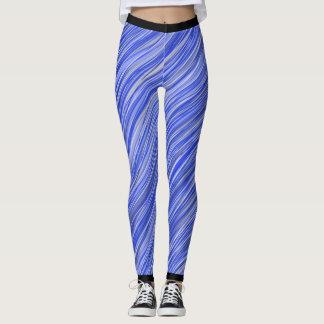 Blue striped leggings