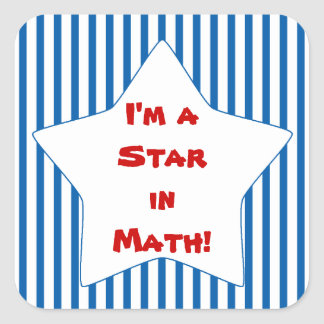Blue Striped Math Student Star Square Sticker